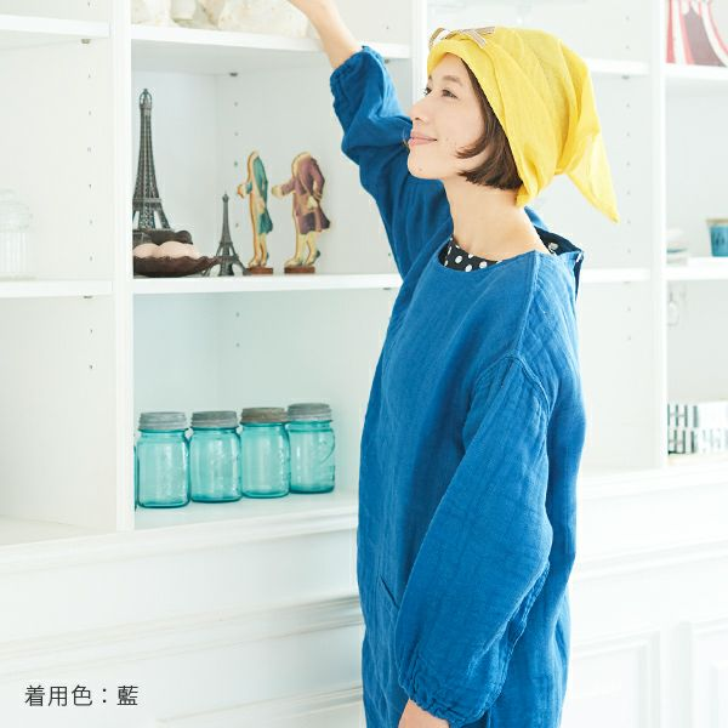 かやぬくもりかっぽう着は藍色もあります